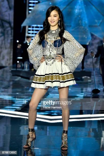 Model Estelle Chen walks the runway during the 2017 Victoria's Secret Fashion Show In Shanghai at MercedesBenz Arena on November 20 2017 in Shanghai...