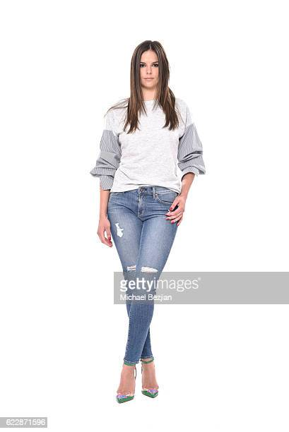 Model Estelle Kania poses for portrait wearing Principle Denim and Chiara Ferragni at Front Row Fashion Shoot at The SAP The Starving Artists Project...