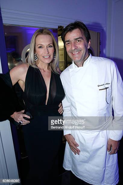 Model Estelle Lefebure and Chef of the Pavillon Ledoyen Yannick Alleno attend the Annual Charity Dinner hosted by the AEM Association Children of the...