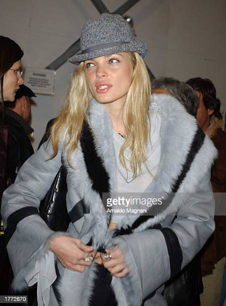 Model Ester Canadas attends the Luca Luca fall fashion show February 9 2003 during MercedesBenz Fashion Week in New York City