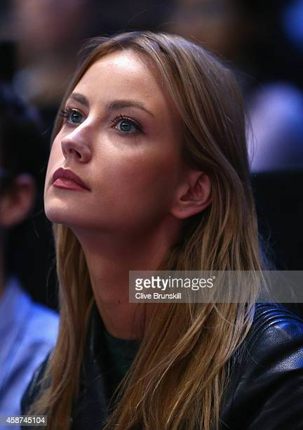Model Ester Satorova watches boyfriend Tomas Berdych of the Czech Republic play against Stanislas Wawrinka of Switzerland in their round robin match...