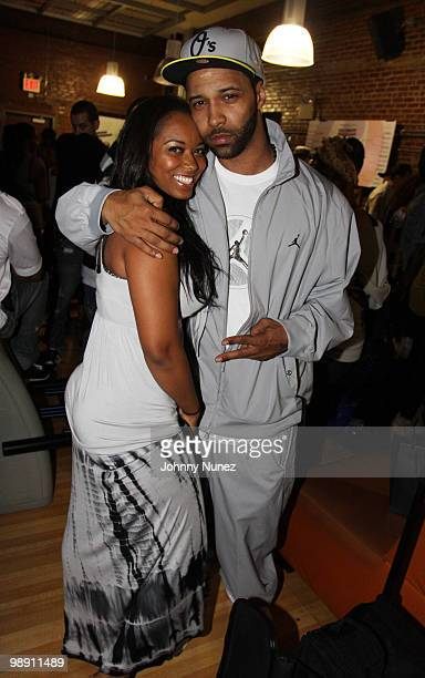Model Esther Baxter and rapper Joe Budden attend Celebrity Strikeout at Harlem Lanes on May 6 2010 in New York City