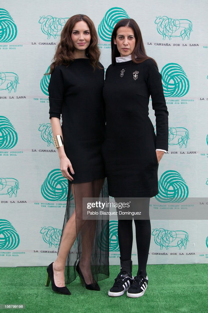 Model Eugenia Silva (L) and Estrella Archs (R) inaugurate Wool Week 2012 at Colon Square on November 21, 2012 in Madrid, Spain.