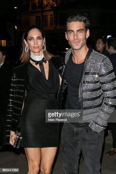 Model Eugenia Siva and Jon Kortajarena attend the 'L'Oreal Paris X Balmain' party on September 28 2017 in Paris France