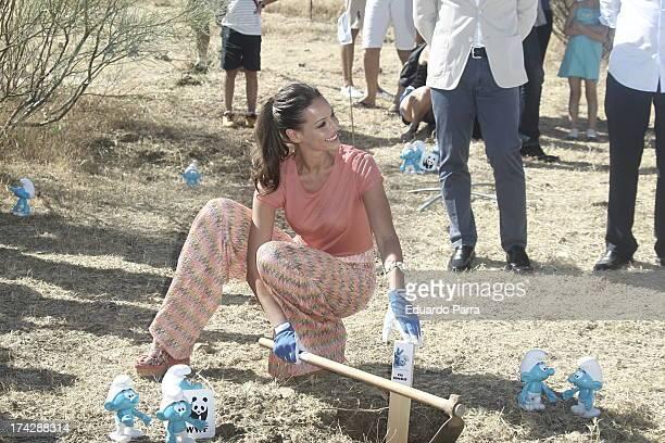Model Eva Gonzalez attends Los Pitufos 2 reforestation symbolic event at Los Riscos on July 23 2013 in Juzcar Spain