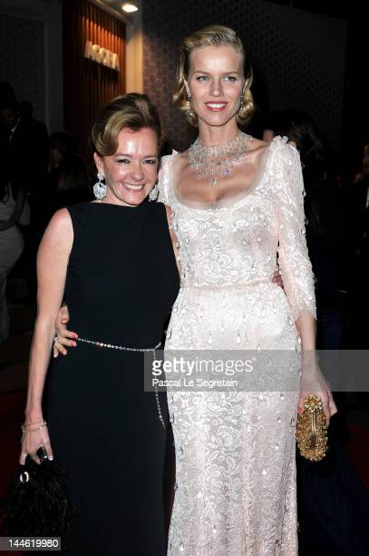 Model Eva Herzigova and Chopard CoPresident Caroline GruosiScheufele attend the Opening Night Dinner during the 65th Annual Cannes Film Festival at...