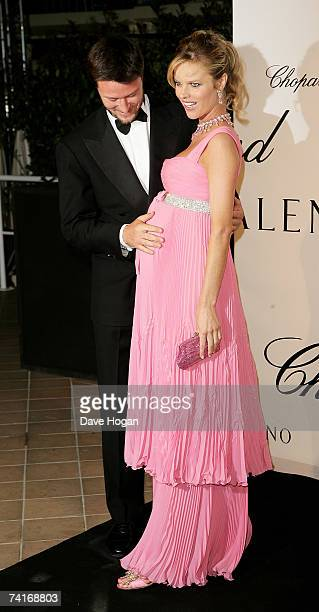 Model Eva Herzigova and her partner Gregorio Marsiaj attend the Chopard and Valentino party during the 60th International Cannes Film Festival at the...