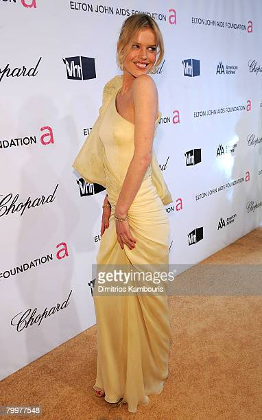 Model Eva Herzigova attends the 16th Annual Elton John AIDS Foundation Oscar Party at the Pacific Design Center on February 24, 2008 in West...