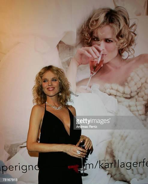Model Eva Herzigova attends the Dom Perignon vernissage at the KaDeWe on January 31 2007 in Berlin Germany
