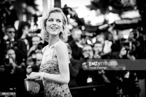 Model Eva Herzigova attends the Ismael's Ghosts screening and Opening Gala during the 70th annual Cannes Film Festival at Palais des Festivals on May...