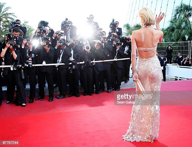 Model Eva Herzigova attends the Looking For Eric Premiere held at the Palais Des Festivals during the 62nd International Cannes Film Festival on May...