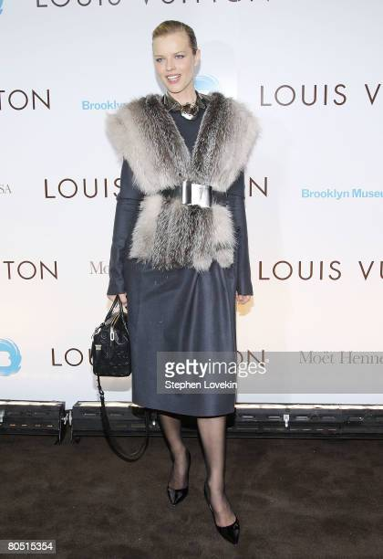 Model Eva Herzigova attends the Louis Vuitton gala opening of the Murakami exhibition at The Brooklyn Museum on April 03 2008 in New York City