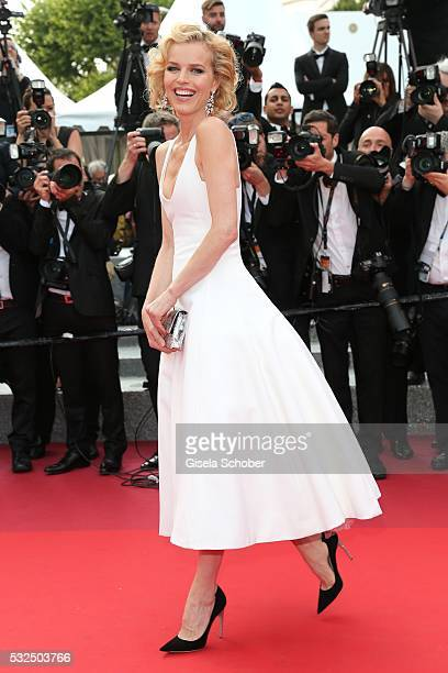 Model Eva Herzigova in Marilyn Monroe Style attends 'The Unknown Girl ' Premiere during the 69th annual Cannes Film Festival at the Palais des...