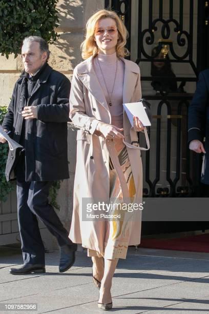 Model Eva Herzigova is seen on January 21 2019 in Paris France