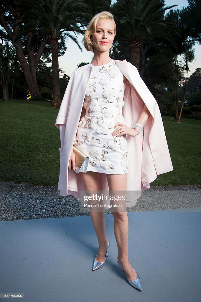 Model Eva Herzigova poses for photographs at the amfAR's 23rd Cinema Against AIDS Gala at Hotel du Cap-Eden-Roc on May 19, 2016 in Cap d'Antibes, France.