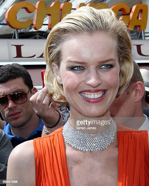 Model Eva Herzigova stands outside at her hotel on May 16, 2010 in Cannes, France.