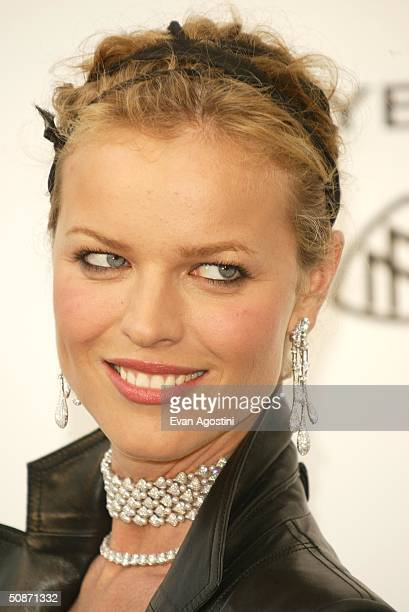 """Model Eva Herzigova, wearing Chopard, arrives at """"Cinema Against AIDS 2004"""", the 11th annual event in aid of amfAR at Le Moulin de Mougins at the..."""