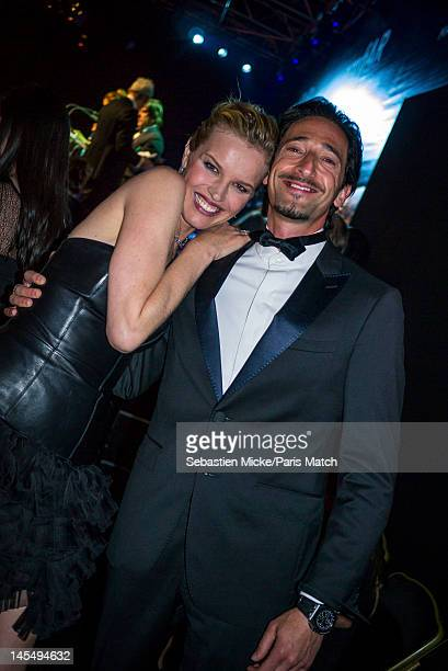 Model Eva Herzigova with actor Adrien Brody, photographed at the amfAR Cinema Against AIDS gala, for Paris Match on May 24 in Cap d'Antibes, France.
