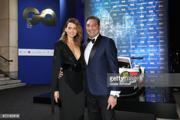 Model Eva Padberg and DJ Mousse T arrive for the GQ Men of the year Award 2017 at Komische Oper on November 9 2017 in Berlin Germany