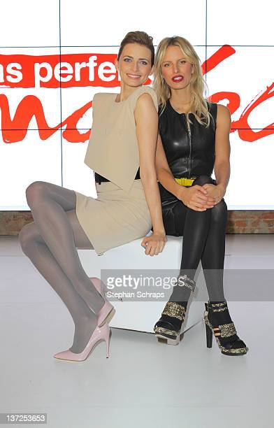 Model Eva Padberg and Karolina Kurkova attend a photocall in advance of the upcoming VoxTV casting show 'Das perfekte Model' on January 17 2012 in...