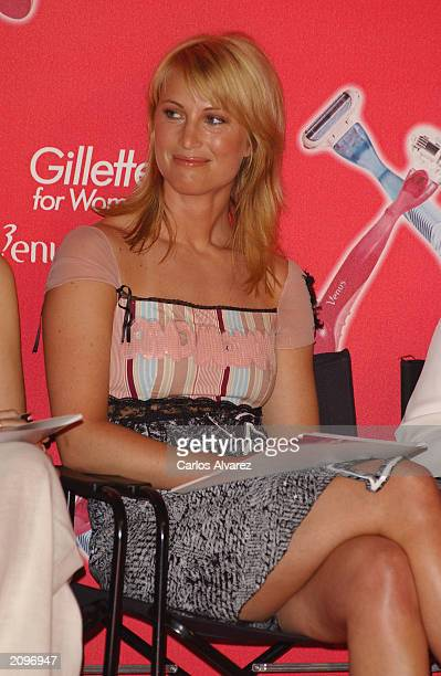 Model Eva Sannum, Norwegian ex-girlfriend of Prince Felipe of Spain, judges the Gillette beauty contest at Circulo de Bellas Artes June 19, 2003 in...