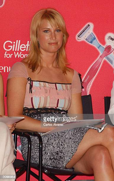 Model Eva Sannum Norwegian exgirlfriend of Prince Felipe of Spain judges the Gillette beauty contest at Circulo de Bellas Artes June 19 2003 in...