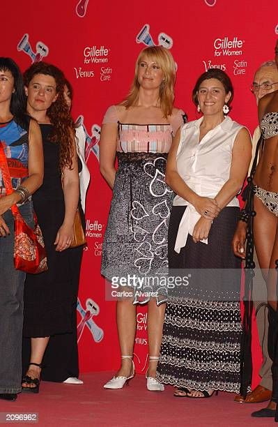Model Eva Sannum Norwegian exgirlfriend of Prince Felipe of Spain poses with the Jury at the Gillette beauty contest at Circulo de Bellas Artes June...