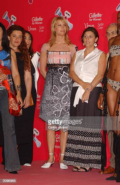 Model Eva Sannum, Norwegian ex-girlfriend of Prince Felipe of Spain, poses with the Jury at the Gillette beauty contest at Circulo de Bellas Artes...