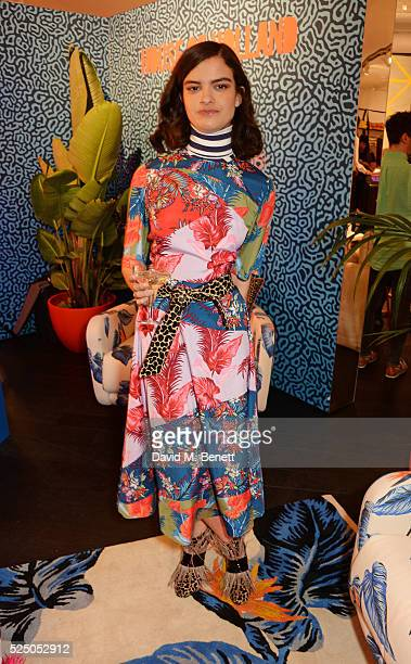 Model Evangeline Ling attends the launch of House of Holland's first interior collection with Habitat at Habitat Tottenham Court Road on April 27...