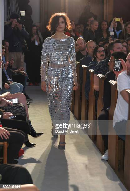 Model Evangeline Ling walks the runway at the ALEXACHUNG London Launch Summer 17 Collection Reveal at the Danish Church of Saint Katharine on May 30...
