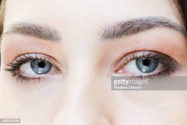 A model eyes detail is seen at Cosmoprof at BolognaFiere Exhibition Centre on March 17 2018 in Bologna Italy
