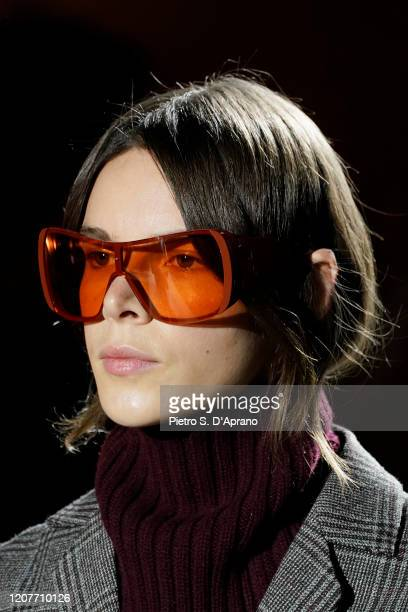 Model, eyewear detail, walks the runway during the Tod's fashion show as part of Milan Fashion Week Fall/Winter 2020-2021 on February 21, 2020 in...