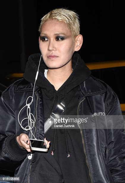 Model EZ is seen outside the Marc Jacobs show during New York Fashion Week Women's A/W 2018 on February 14 2018 in New York City