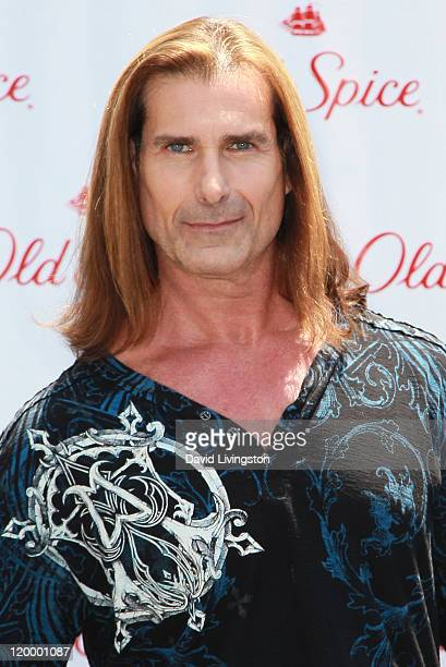 Model Fabio poses at Old Spice's 'Manly Man' event at The Grove on July 28 2011 in Los Angeles California