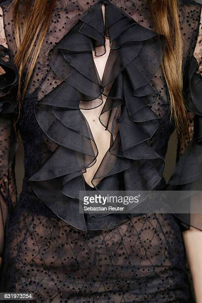 A model fabric detail walks the runway at the Lana Mueller show during the MercedesBenz Fashion Week Berlin A/W 2017 at Soho House on January 18 2017...