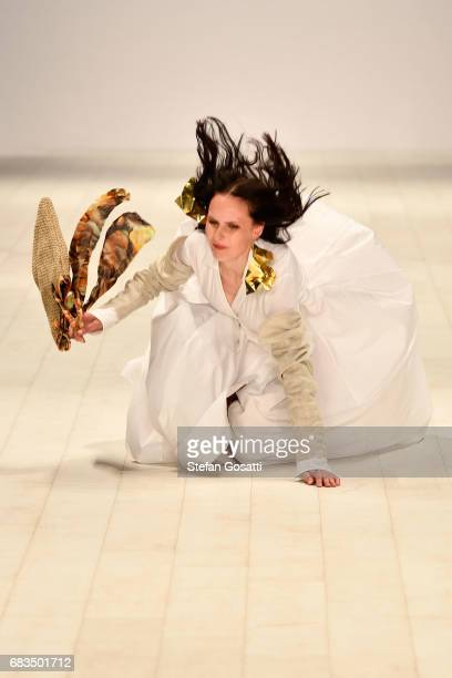 A model falls over on the runway in a design by Victoria Bliss during the Project NextGen show at MercedesBenz Fashion Week Resort 18 Collections at...