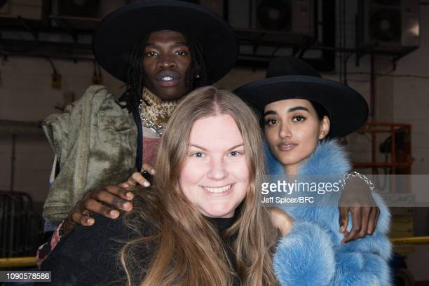 A model fashion designer Astrid Andersen and Neelam Gill backstage ahead of the Astrid Andersen show during London Fashion Week Men's January 2019 on...