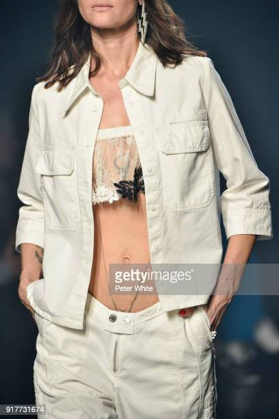 A model fashion detai walks the runway at the Zadig Voltaire fashion show during New York Fashion Week at Cedar Lake Studios on February 12 2018 in...