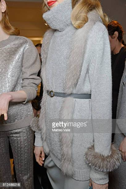 A model fashion detail backstage ahead of the Agnona show during Milan Fashion Week Fall/Winter 2016/17 on February 26 2016 in Milan Italy