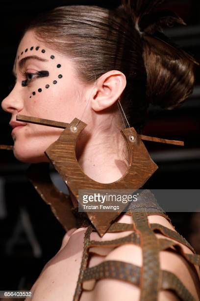 A model fashion detail backstage ahead of the Ceren Ocak show during MercedesBenz Istanbul Fashion Week March 2017 at Grand Pera on March 22 2017 in...