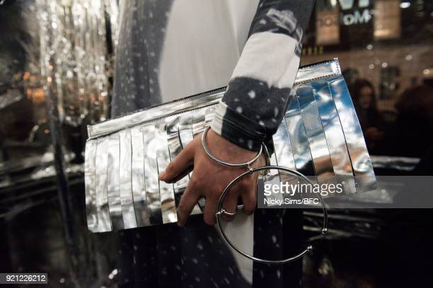 A model fashion detail backstage ahead of the steventai presentation during London Fashion Week February 2018 at British Foreign and Commonwealth...