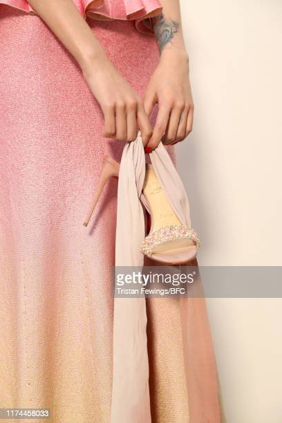 Model, fashion detail backstage ahead of the Roberta Einer show during London Fashion Week September 2019 at the BFC Show Space on September 13, 2019...