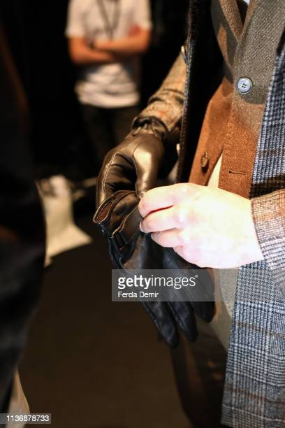 A model fashion detail is seen backstage ahead the Damat show during MercedesBenz Istanbul Fashion Week at the Zorlu Performance Hall on March 19...