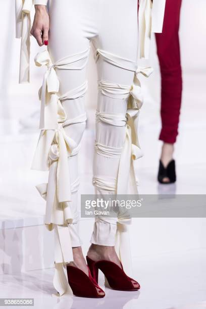 A model fashion detail poses at the Urun show during MercedesBenz Istanbul Fashion Week at the Zorlu Performance Hall on March 27 2018 in Istanbul...