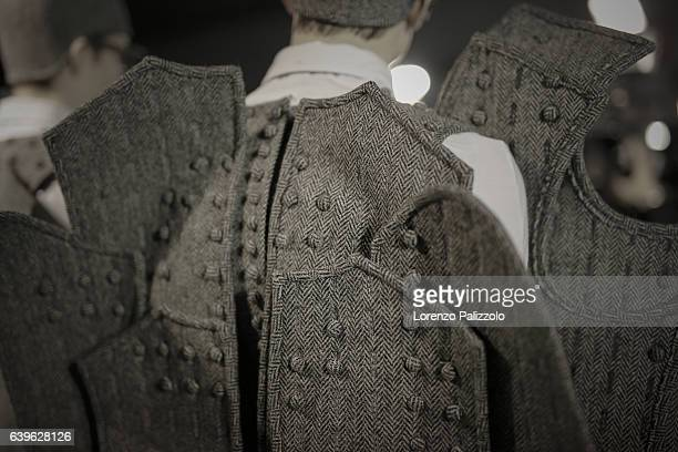 A model fashion detail poses Backstage prior the Thom Browne Menswear Fall/Winter 20172018 show as part of Paris Fashion Week on January 22 2017 in...