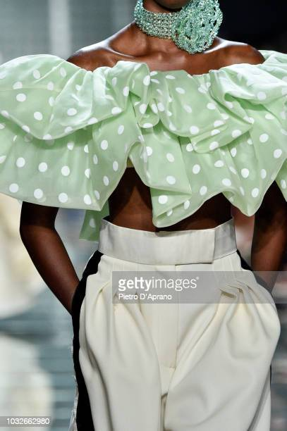 A model fashion detail walks runway at the Marc Jacobs Spring 2019 Runway during New York Fashion Week The Shows at Park Avenue Armory on September...