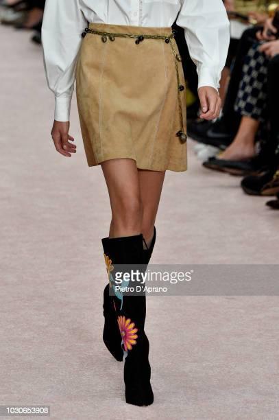 Model, fashion detail, walks the runway at Carolina Herrera fashion show during New York Fashion Week on September 10, 2018 in New York City.