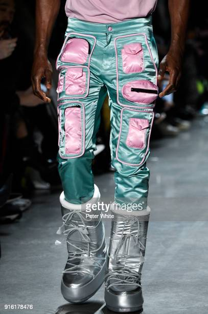 A model fashion detail walks the runway at Jeremy Scott Show Fall 2018 during New York Fashion Week The Shows at Gallery I at Spring Studios on...