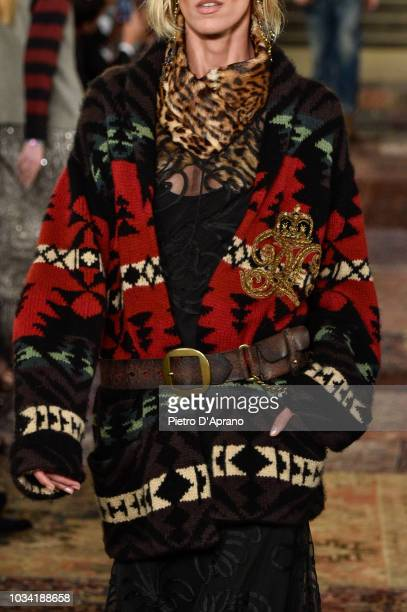 A model fashion detail walks the runway at Ralph Lauren fashion show during New York Fashion Week on September 7 2018 in New York City