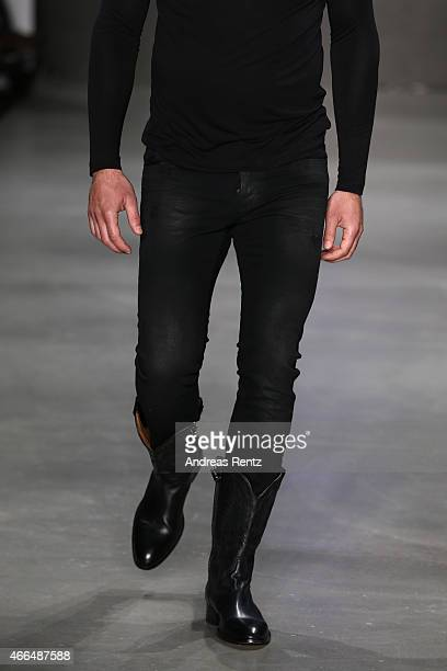 A model fashion detail walks the runway at the Afffair show during Mercedes Benz Fashion Week Istanbul FW15 on March 16 2015 in Istanbul Turkey